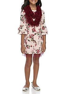 Girls 7-16 Blush Floral Scarf Dress