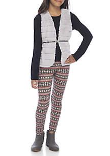 Girls 7-16 Faux Fur Vest and Leggings Set