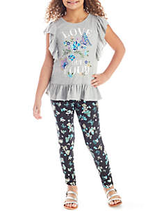 Two-Piece Graphic Ruffle Tee and Printed Leggings Set Girls 7-16