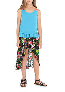 Girls 7-16 2-Piece Tiered Tank Top and Floral Skirt