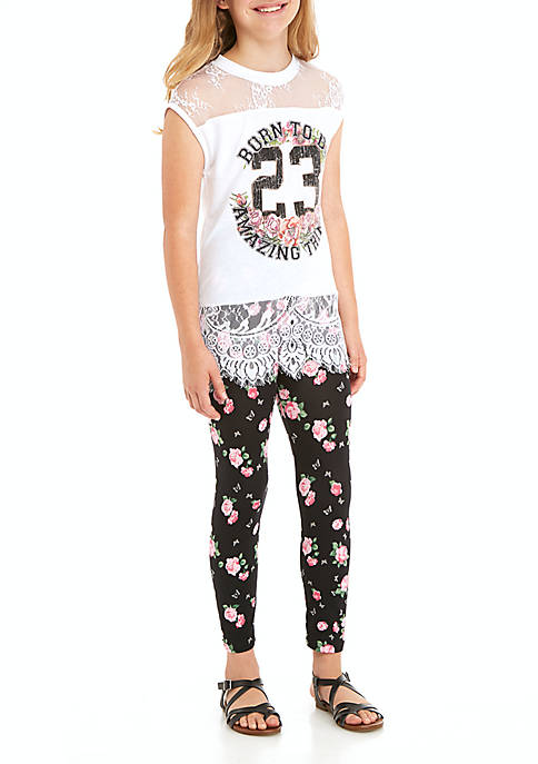 Beautees Girls 7-16 Lace Varsity Legging Set