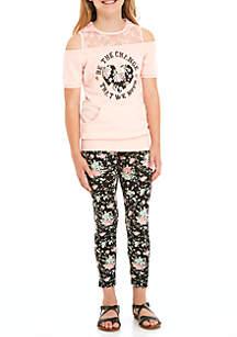 Girls 7-16 2-Piece Lace Varsity Legging Set