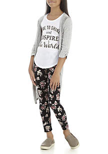 Girls 7-16 Grey Duster Floral Legging Set