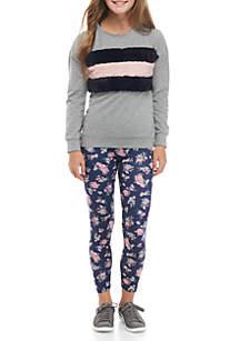 Girls 7-16 2-Piece Fuzzy Stripe Shirt and Floral Leggings Set