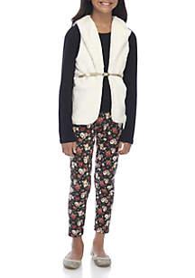 Girls 7-16 Furry Vest Set