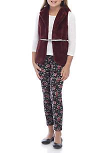 Beautees Girls 7-16 Fuzzy Vest Set