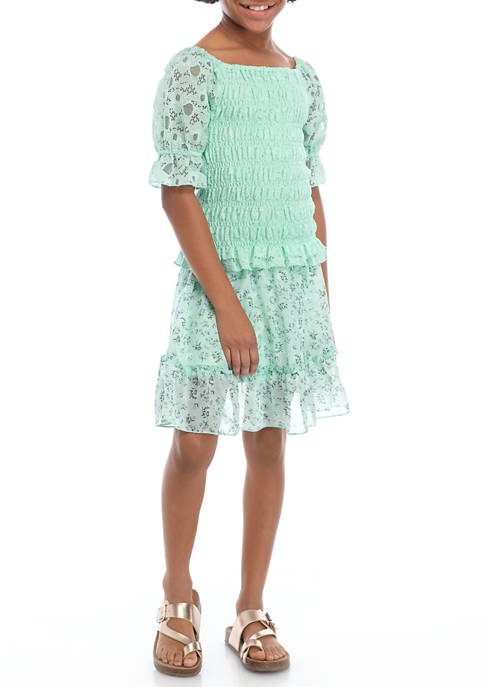 Girls 7-16 Mint Smocked Top and Tiered Skirt Set