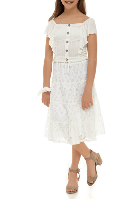 Beautees Girls 7-16 Lace Top with Tiered Maxi