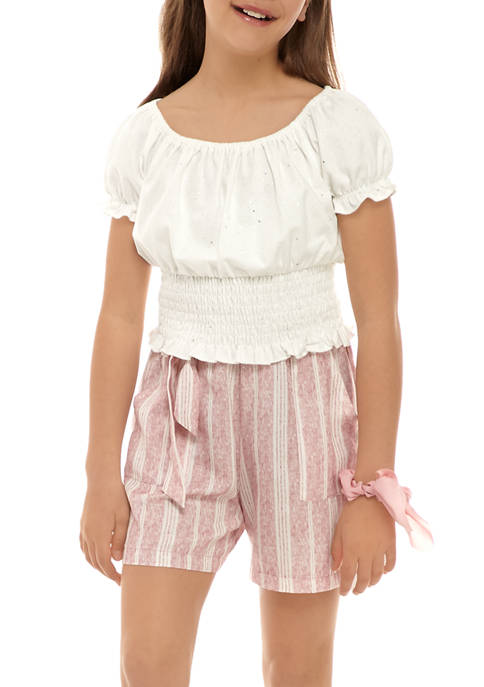 Beautees Girls 7-16 Smocked Woven Shirt and Tie