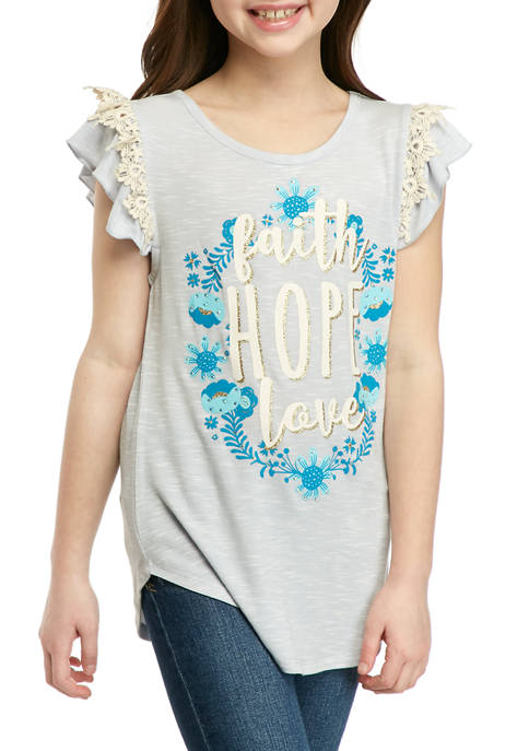Beautees Girls 7-16 Faith Hope Love Graphic T-Shirt