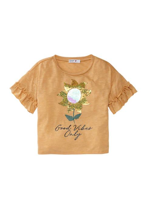 Girls 7-16 Flower Sequin Top