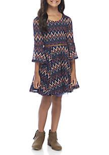 Girls 7-16 Bell Sleeve Navy Missoni Print Dress