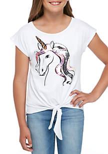 Beautees Girls 7-16 Short Sleeve White Unicorn Tie Front Tee