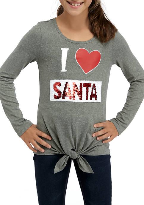 Girls 7-16 I Love Santa Tie Front Graphic Top