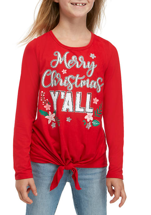 Beautees Girls 7-16 Merry Christmas Yall T-Shirt