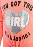 Girls 7-16 Neon Pink Sequin Long Sleeve T-Shirt