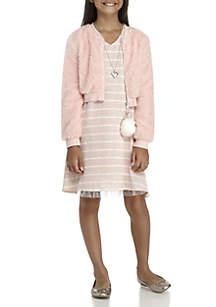Girls 7-16 Blush Fur Jacket Knit Dress Set