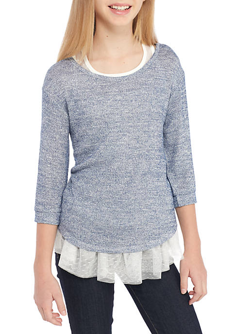 Beautees Layered Mesh Tank and Sweater 2Fe-Girls 7-16 free shipping