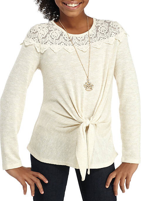 Beautees Tie Front Lace Yoke Top Girls 7-16 free shipping