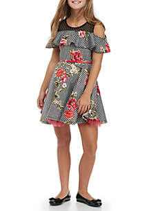 Girls 7-16 Sleeveless Ruffle Skater Printed Dress