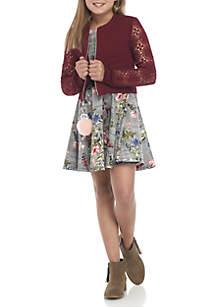 Girls 7-16 Lace Bomber Skater Dress Set