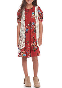 Girls 7-16 2-Piece Sleeveless Cozy 3-Tier Dress