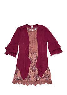 Girls 7-16 2-Piece Lace Trim Dress