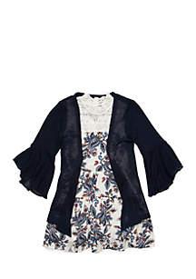 Girls 7-16 2-Piece Sleeveless Lace Trim Dress