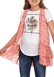 Beautees Girls 7-16 Coral Woven Floral Vest and T Shirt Set
