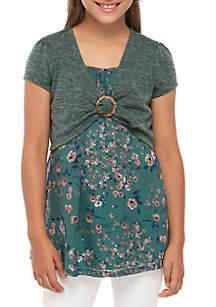 Beautees Girls 7-16 Green Shrug Over Floral Tank Set