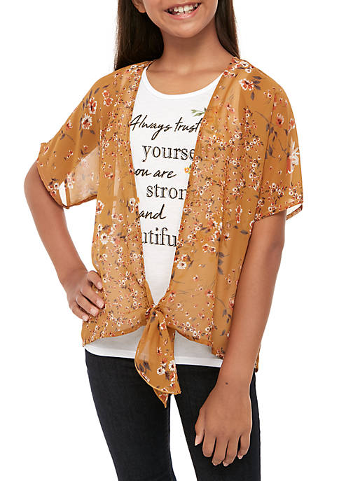 Beautees Girls 7-16 2 Piece Floral Kimono Over