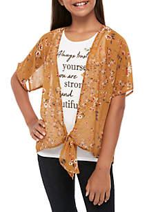 Beautees Girls 7-16 2 Piece Floral Kimono Over Screen Print T Shirt