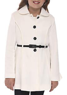 Girls 7-16 Fleece Princess Collar Jacket with Belt