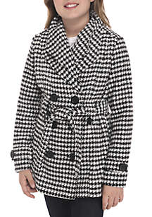 Girls 7-16 Houndstooth Faux Wool Peacoat