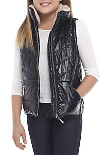 JouJou Girls 7-16 Metallic Puffer Vest with Fur Collar