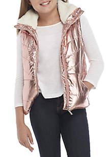 Girls 7-16 Metallic Puffer Vest with Fur Collar