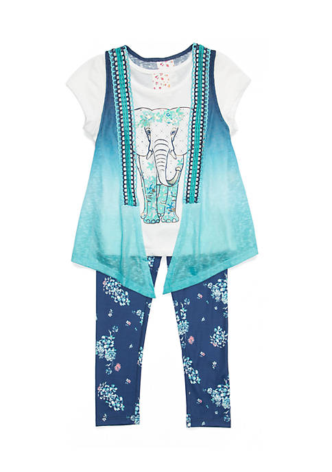 Belle du Jour Toddler Girls 2-Piece Ombré Elephant