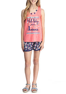 Belle du Jour 'Make Today So Awesome' Graphic Tank and Printed Short 2-Piece Set Girls 7-16