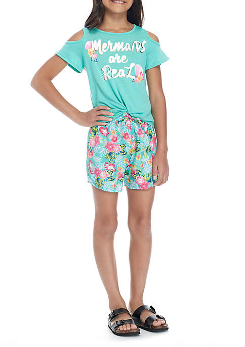 Belle du Jour Girls 7-16 Cold Shoulder Mermaid