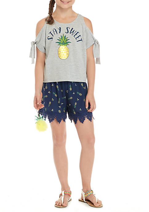 Belle du Jour Girls 7-16 Pineapple Shorts Set