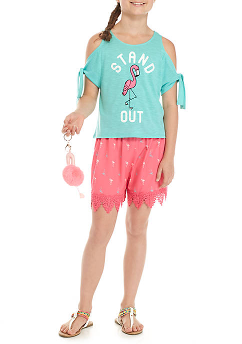 Belle du Jour Girls 7-16 Flamingo Printed Shorts
