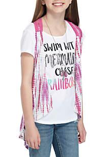 Girls 7-16 Short Sleeve Tie Dye Vest 2Fer