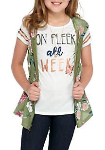 Belle du Jour Girls 7-16 Floral Anorak 2Fer