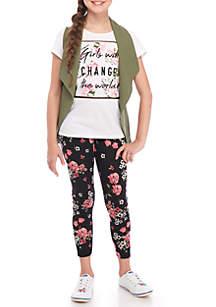 Girls 7-16 Olive Vest Floral Leg Set