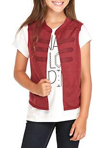 Belle du Jour Girls 7-16 Military Vest Short Sleeve Screen Tee