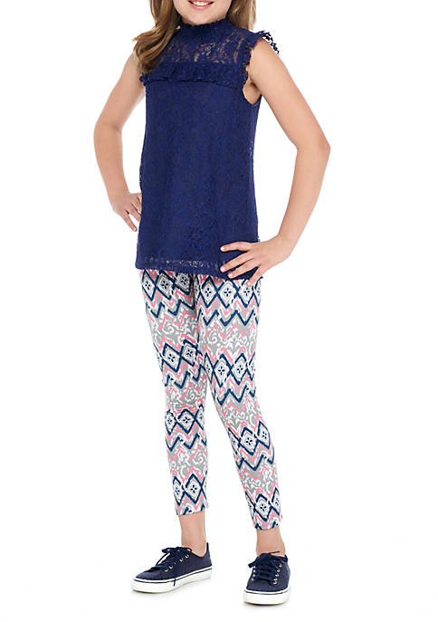 Belle du Jour Girls 7-16 Allover Lace Printed