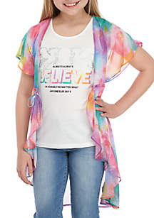 Belle du Jour Girls 7-16 2 Piece Tie Dye Printed Duster