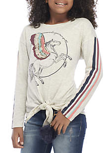 Girls 7-16 Long Sleeve Textured Sequin Tie Front Unicorn Top