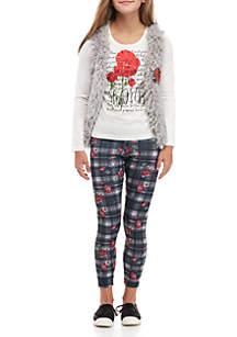Girls 7-16 3-Piece Fuzzy Vest Roses Leg Set