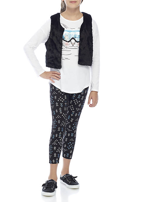 Belle du Jour Girls 7-16 Fuzzy Vest Penguin